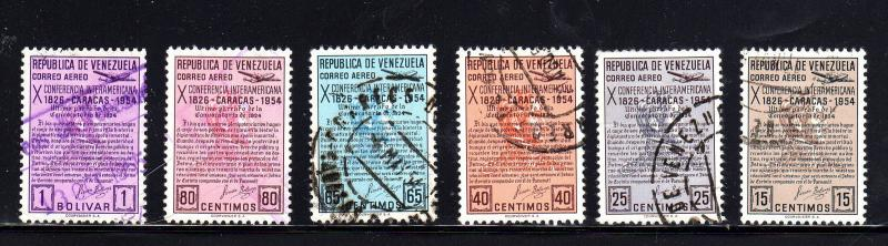 VENEZUELA #C581-C586  1954  10TH INTER-AMERICAN CONF.    F-VF USED