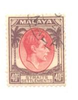 Straits Settlements Sc 248 1937 50 c G VI stamp used