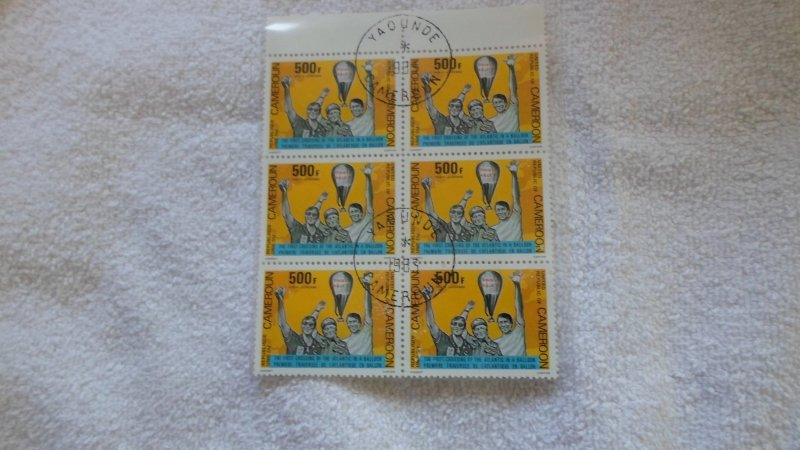 united rep. of cameroon block of 6 stamps CTO MNH.