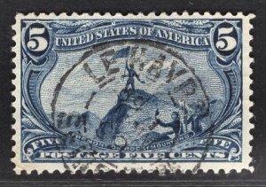 US Stamp #288 5c Trans-Mississippi USED SCV $25.00