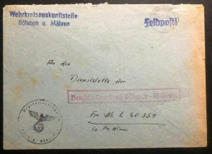 1944 Germany Bohemia Moravia Official Feldpost Cover To Luftwaffe South Greece