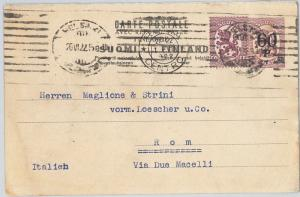 62400-  DENMARK  - POSTAL STATIONERY CARD with ADDED FRANKING to ITALY 1922