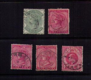 5 Ea US Sc 66-67 Used Natal (African British Commonwealth) F-VF