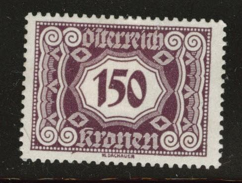 Austria Scott J119 MH* from 1922-24 postage due set