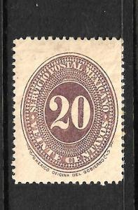 MEXICO  1886 20c  NUMERAL  MLH  Sc 182