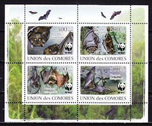 Comoro Is., 2009 issue. WWF-Bats sheet of 4. ^