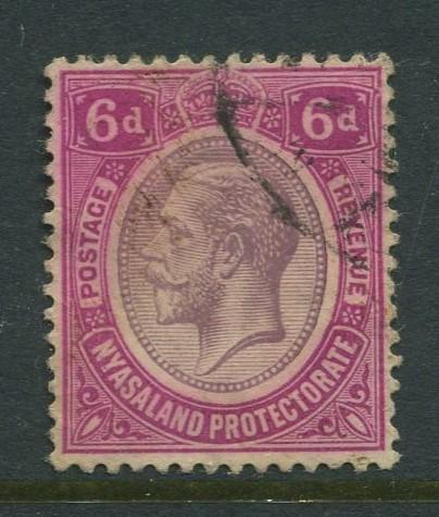 Nyasaland - Scott 18 - KGV - Definitive Issue. -1913 - FU - Single 6d Stamp