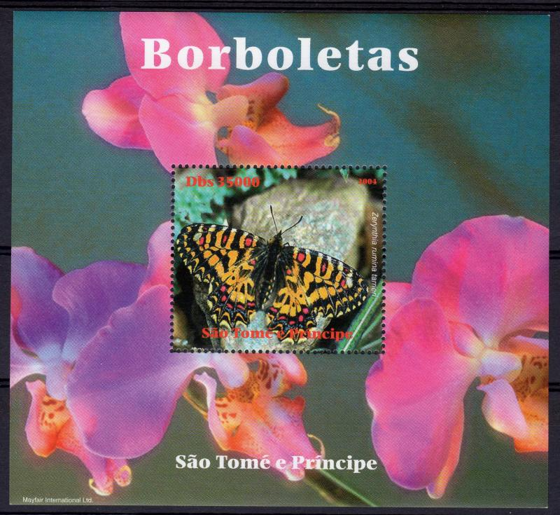 Sao Tome and Principe 2004 Butterflies/Orchids Souvenir Sheet Perforated MNH