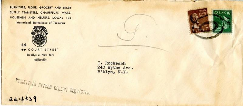 U.S. Scott 825 & 812 Prexies On  Teamsters 1946 Brooklyn, NY Registered Cover
