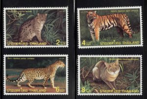Thailand  Scott 1802-1805 MNH** 1998  Wild Cat set