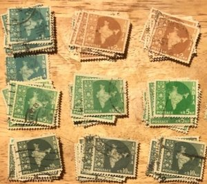 India Group 250+ stamps F/VF Used Cat. $50.00 1958-1963 issue