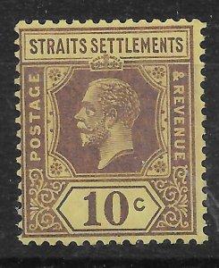 MALAYA STRAITS SETTLEMENTS SG231a 1926 10c PURPLE ON PALE YELLOW DIE II MNH