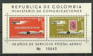 1959 Columbia C349  Airmail Service 40th Anniversary MNH S/S