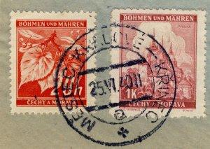 BÖHMEN u. MAHREN 1940 MESTEC KRALOVÉ - KRINEC a * railway carrier CDS Mi.22 & 28