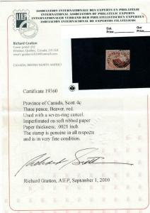CANADA # 4c 3p BEAVER USED WITH 7 RING CANCEL SOFT RIB PAPER CV $800 WITH CERT