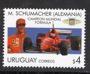 1997 MICHAEL SCHUMACHER FORMULA 1 RACE CAR FERRARI URUGUAY Sc#1694c MNH STAMP