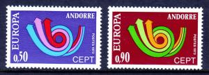 ANDORRA (FRENCH) — SCOTT 219-220 — 1973 CEPT SET — MLH —SCV $20.00