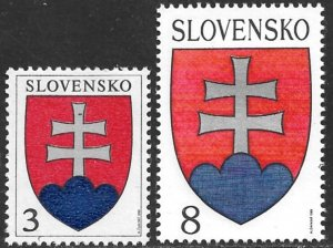 SLOVAKIA 1993 National Arms First Issue Sc 150-151 MNH