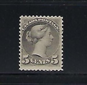 CANADA SCOTT #38 1870-89 SMALL QUEEN 5 CENTS (SLATE GREEN) MINT  HINGED