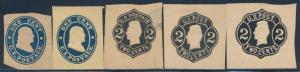 #U19 // #U59 (5) DIFF. UNUSED CUT SQUARES CV $129 BS9485
