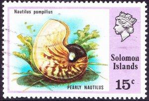 BRITISH SOLOMON ISLANDS 1976 QEII 15c Multicoloured Birds & Shells SG313 FU