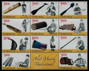 HERRICKSTAMP NEW ISSUES INDONESIA Musical Instruments 2014 Block of 11