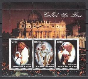 Benin, 2003 Cinderella issue. Pope John Paul II Sheet of 3. Diana & M. Teresa.