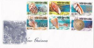 PNG50) PNG 2004 Generic Dark Grey cachet FDC. Bearing: Sea Shells 2004