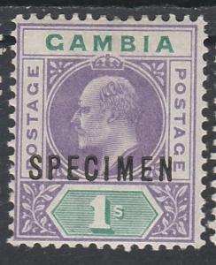 GAMBIA 1902 KEVII SPECIMEN 1/- WMK CROWN CA