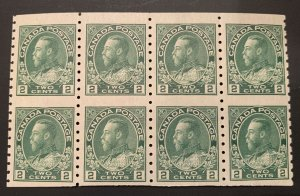 Canada #128a Mint Rare NH Block of 8 Imperf C$240.00