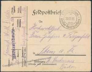 Germany WWI Hospital High Command Feldpost Cover Grossenhauptquartiers 48467