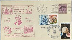 HNLP Hideaki Nakano 2-22-1932 Cover w/2149 1952 George Washington Double 1st Day