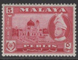 MALAYA PERLIS SG32 1957 5c CARMINE-LAKE MNH