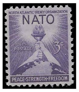#1008 3c 3rd Anniversary of NATO 1952 Mint NH