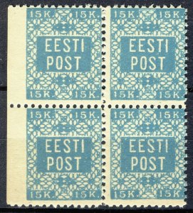 Estonia 1918, Margin Block 15k Perf 11, Mi 2A or privat perforation VF MNH