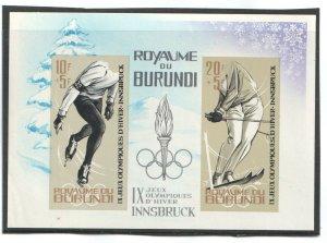 1964 BURUNDI - SG: MS 76a  IMPERF - WINTER OLYMPICS, INNSBRUCK - UNMOUNTED MINT