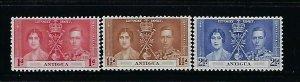 ANTIGUA SCOTT #81-83 1937 GEORGE VI CORONATION -MINT LIGHT HINGED