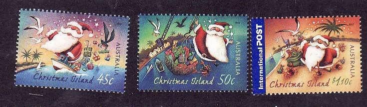 Christmas Is.-Sc#464-6-unused NH set-Christmas-Santa Claus-2007-