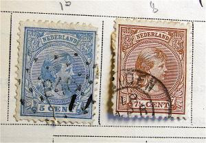 2 Antique Netherlands Postage Stamps---circa 1891-1892---used, hinged