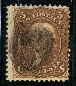 Classic F Grill 5¢ Brown Franklin Sc #95 1867 CV $850.00