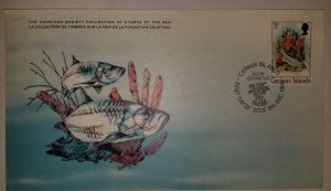 O) 1980 CAYMAN ISLANDS, JUVENIL TARPON AND FIRE SPONGES FISH, COUSTEAU SOCIETY