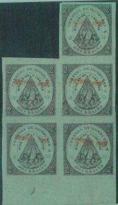88711 - HONDURAS -  STAMP  -  Yvert # 9  BORDER Block of 5 - MINT MNH