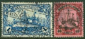 EDW1949SELL : KIAUCHAU 1905-06 Scott #38, 40 Both Very Fine, Used. Catalog $120.