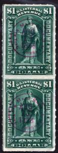 R173 $1.00 Documentary Stamp: Vertical Pair (1898) Used/CDS