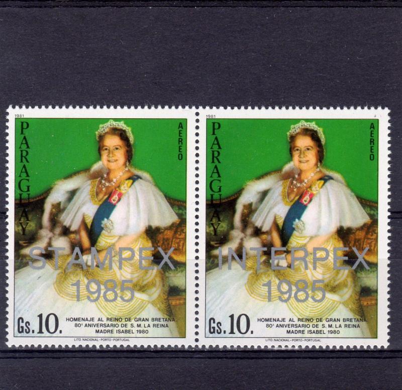 Paraguay 1985 Sc #C590/591 Queen Mother Ovptd. Interpex/Stampex '95  Pair