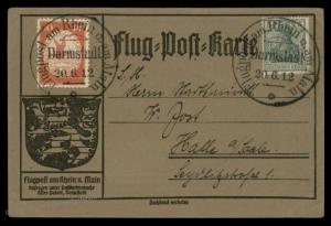 Germany 1912 Zeppelin Schwaben Si10.1.20 Darmstadt Airmail Cover Flugpost 89373