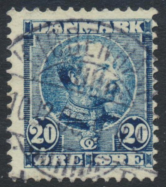 Denmark Scott 66 (AFA 48), 20ø blue Christian IX, just F U