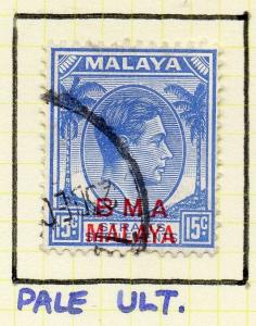 Malaya Straights Settlements 1945 Early Shade of Used 15c. BMA Optd 308004