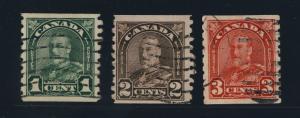 CANADA - 1931 - SG 305, 308 & 309 1c, 2c & 3c Coil Stamps - FINE USED