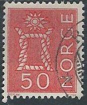 Norway 424 (used) 50ø boatwain's knot, vermilion (1962)